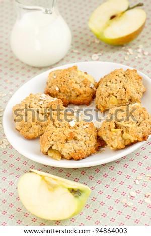 Apple oatmeal cookies - stock photo