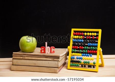 Apple on a school - stock photo