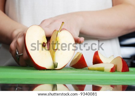 apple on the counter symbolizes healthy living and nutritional value