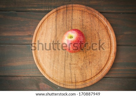 Apple on the wood table - stock photo