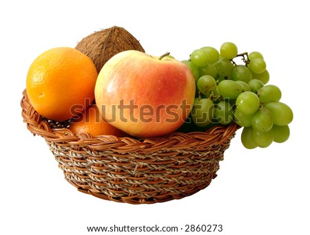 apple, orange, coconut and grapes in basket on white background