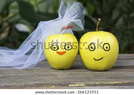 apple painted with the bride and groom. Face on an apples. Apple family. the concept of social relations. society. toned color image
