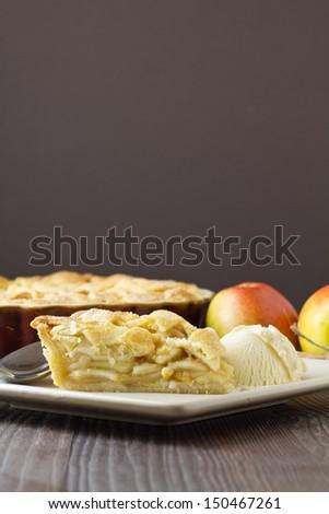 Apple pie a la mode (vanilla ice cream) - stock photo