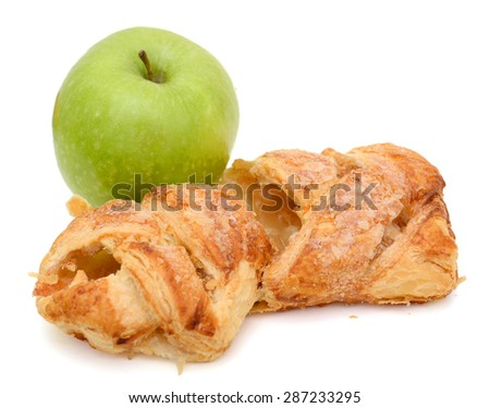 apple pie and green apple on white background  - stock photo
