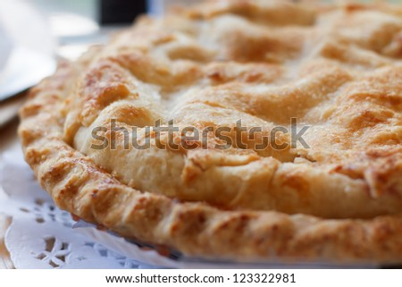 apple pie closeup - stock photo
