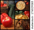 Apple pie collage includes images of fresh apples, cooked apples, sugar and spices, and a freshly baked homemade pie on rustic wood background. - stock photo
