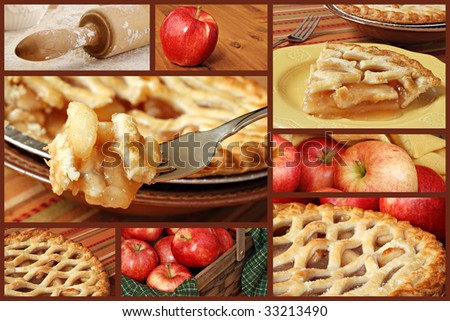 Apple Pie collage with eight photographs of baking and serving apple pie on a brown background. - stock photo