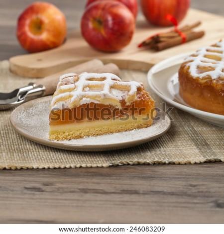 Apple Pie Dessert Ready to Eat. Selective focus. - stock photo