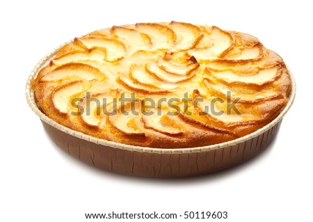 Apple pie isolated on white - stock photo