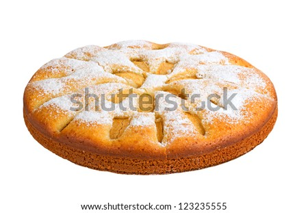 Apple pie isolated on white background - stock photo