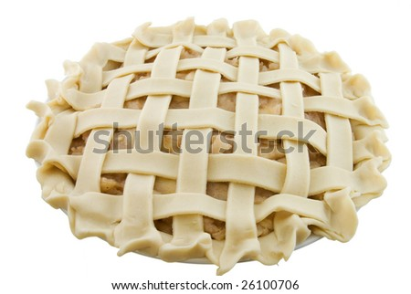 Apple pie not yet baked and isolated on white - stock photo