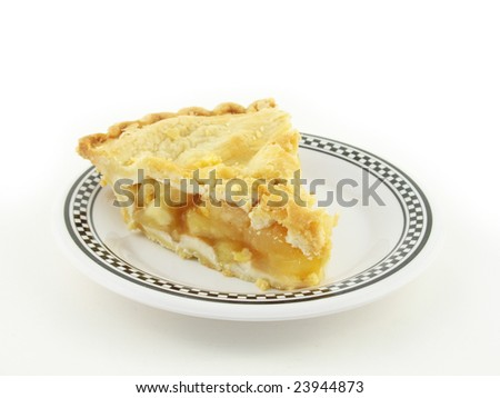 apple pie on a white and black checkered plate on white - stock photo
