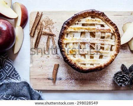 apple pie top view - stock photo