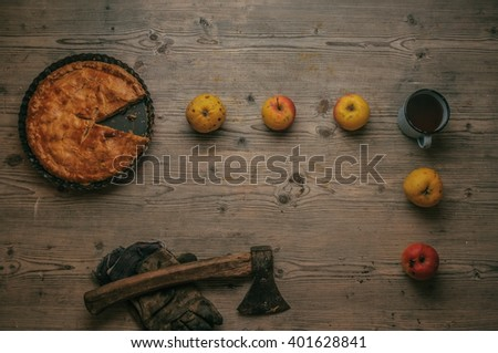 apple pie with apples and tea stylized as a famous arcade game
