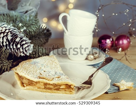 Apple pie with Christmas decoration