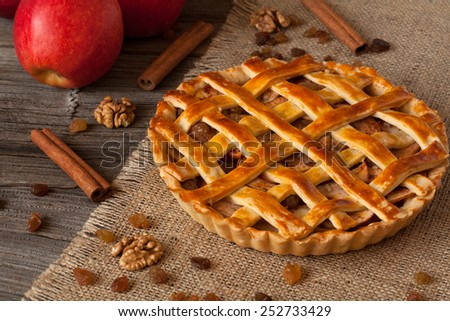 Apple pie with cinnamon on retro wooden background texture - stock photo