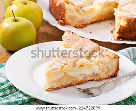 Apple pie with custard - stock photo