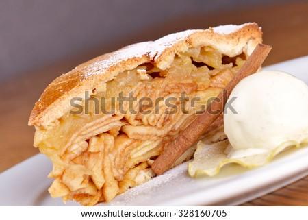 Apple pie with ice cream - stock photo