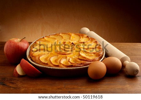 apple pie with ingredients - stock photo