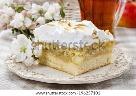 Apple pie with meringue topping - stock photo