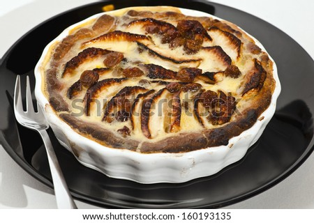 Apple pie with slices apples on the top - stock photo