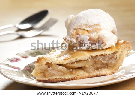 Apple Pie with Vanilla Toffee Ice Cream. Unsharpened file - stock photo