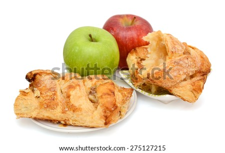 apple pies and colored apples on white background  - stock photo