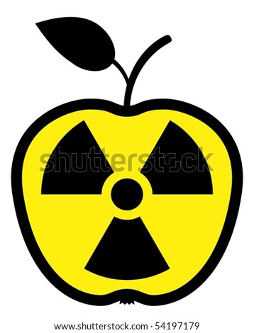 Apple polluted by radiation - stock photo