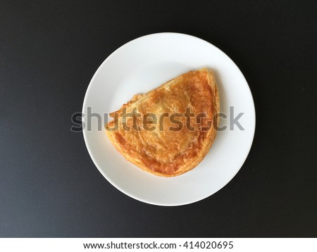 Apple puff pastry, top view.