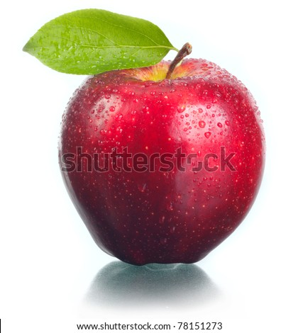 Apple red, juicy, fresh on a white background. - stock photo