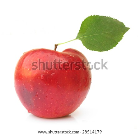 Apple red perfect with green leaf