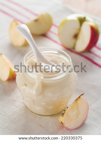 Apple sauce or jam with cinnamon, selective focus