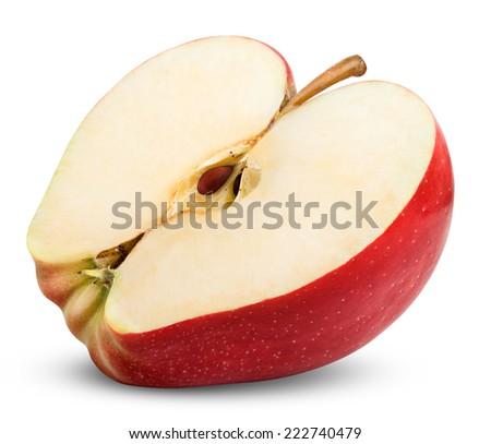 apple slice isolated on white background.  - stock photo