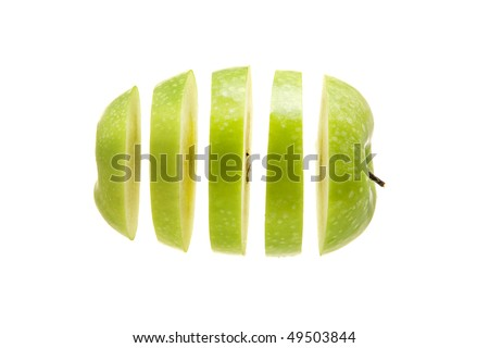 apple sliced and diced on a white background - stock photo