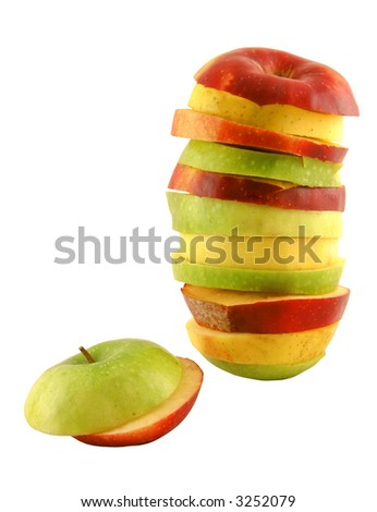 Apple slices set on a white background