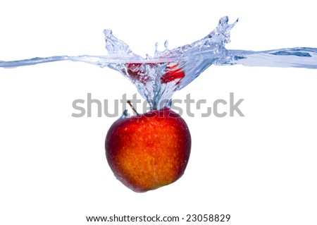 Apple splash in water - stock photo