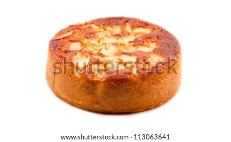 apple sponge cake isolated on white background