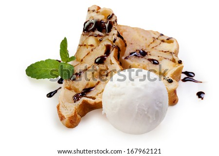 Apple strudel and Ice Cream on white background - stock photo