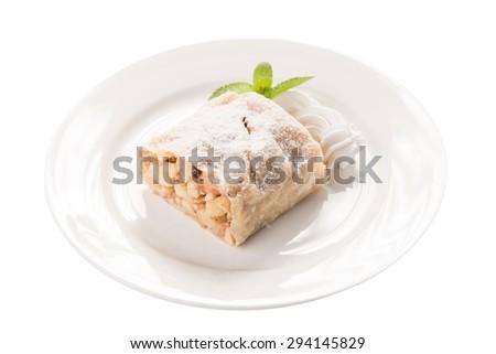 Apple strudel cake isolated on white background - stock photo