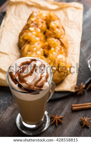 Apple strudel on the rustic wooden background. Shallow depth of field. - stock photo