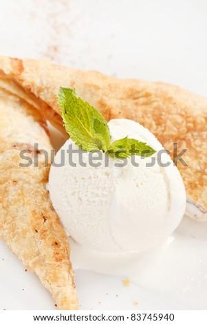 apple strudel with vanilla ice cream - stock photo