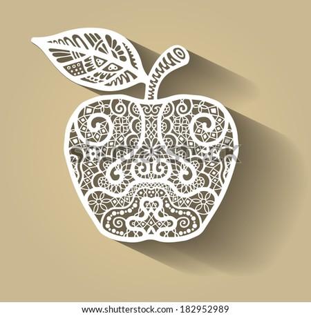 Apple, stylized abstract decoration, white lace pattern, flat icon style, raster illustration - stock photo