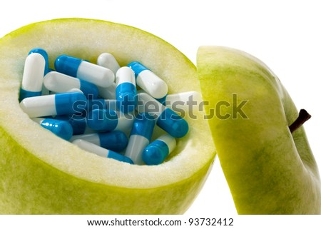 apple tablets with capsules. photo icon for vitamin tablets