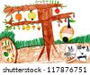 apple tree and rabbit in a hole. children drawing. - stock vector