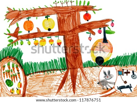 apple tree and rabbit in a hole. children drawing.