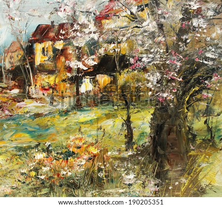 Apple tree in bloom, spring landscape oil painting                                - stock photo