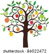 apple tree isolated on White background - stock vector