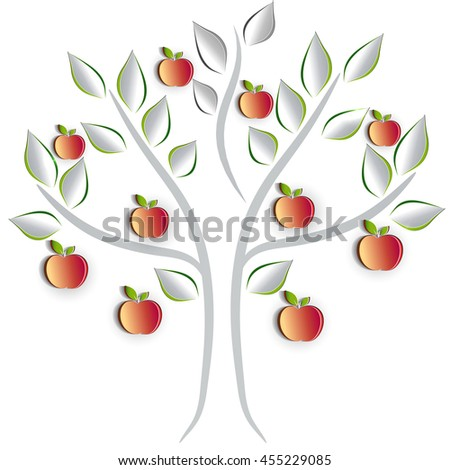 Apple tree on a white background, artistic cut out paper effect design - stock photo