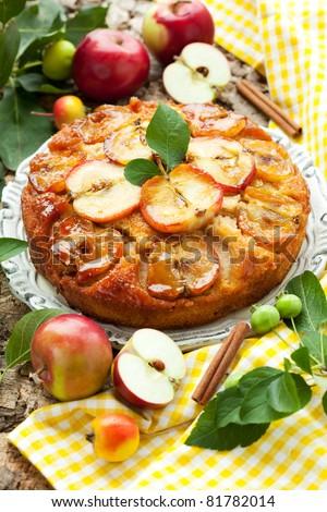 Apple Upside Down Cake - stock photo