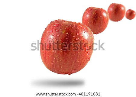 Apple water drop isolate on white background - stock photo
